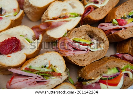 Assorted delicious baguette sandwiches. Various kinds of sandwiches