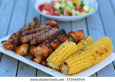 Assorted delicious grilled meat with vegetables on white plate on picnic table for family bbq party - stock photo
