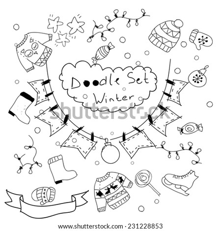 Assorted doodle Christmas black and white icons background. Happy New Year and Merry Christmas card background. New year party invitation background. Website background.
