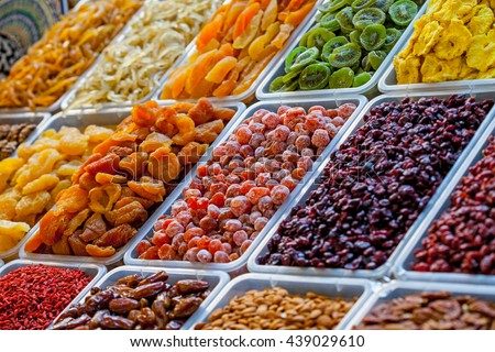 Assorted dried fruits at bazaar - stock photo