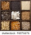 Assorted edible seeds arranged in a printers box - stock photo