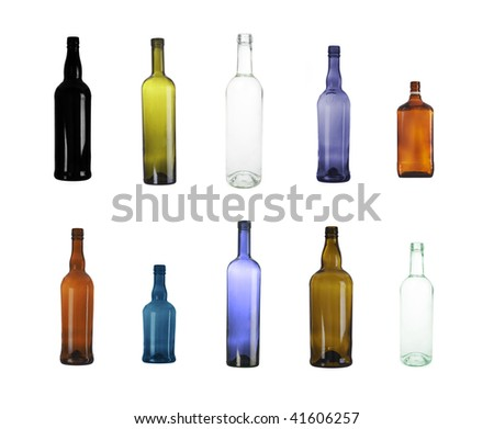 Assorted empty wine bottles