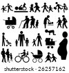 assorted family silhouettes pram, grand parents, baby JPEG - stock vector