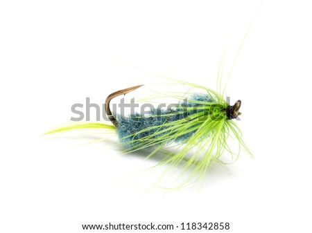 Assorted fly fishing lures - stock photo