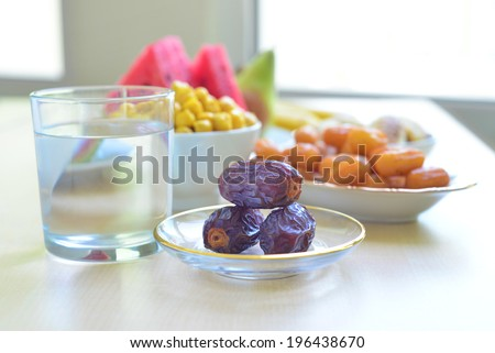 Assorted food for Iftar during Ramadan - stock photo