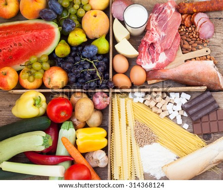Assorted Food full of vitamins, proteins, sugar and carbohydrates - stock photo
