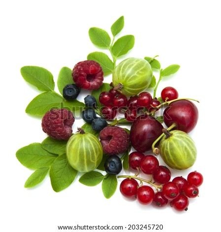 Assorted fresh berries on a white background