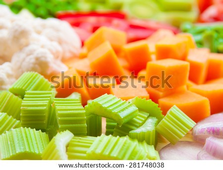 Assorted fresh diced vegetables - stock photo