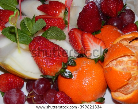 Assorted fresh fruit and berries - stock photo