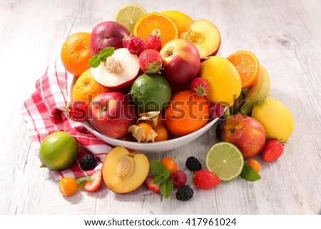 assorted fresh fruits - stock photo