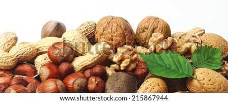 Assorted fresh nuts horizontal banner with whole almonds, hazelnuts, brazil nuts, peanuts and walnuts in their shells and shelled on white with two green leaves - stock photo