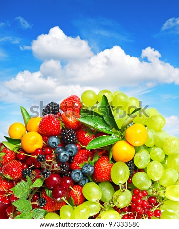 assorted fresh summer berries with blue sky background - stock photo