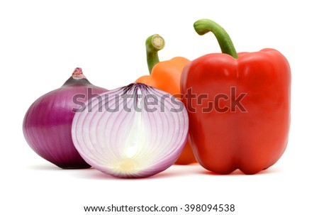 Assorted fresh vegetables: capsicum bell peppers and onions - stock photo