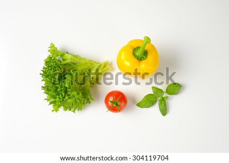 assorted fresh vegetables on white background - stock photo