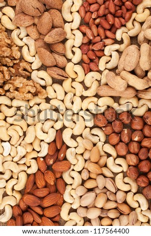 Assorted from nuts can use as a background - stock photo