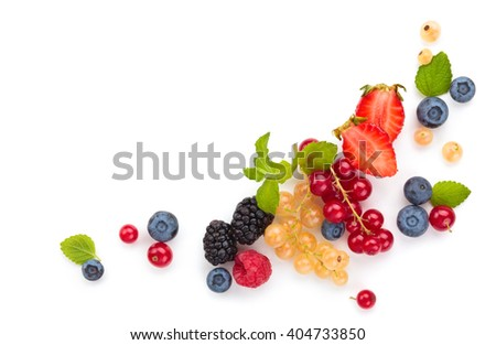 Assorted fruits and leaves. Isolated on white background. - stock photo