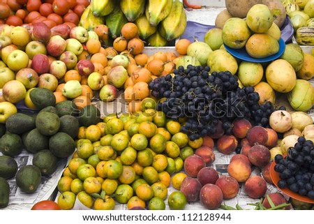 Assorted fruits in market stall