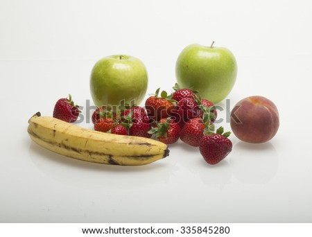 Assorted Fruits isolated on White Background with Soft Shadow