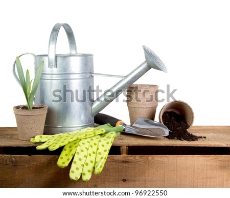 Assorted gardening tools isolated on a white background - stock photo