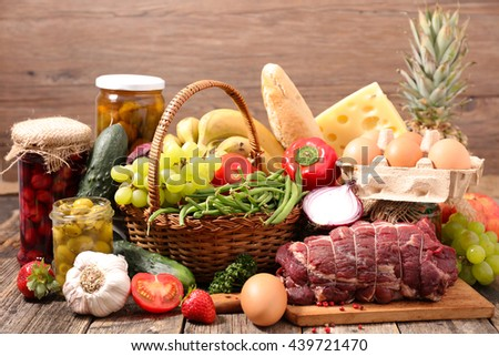 assorted healthy food - stock photo