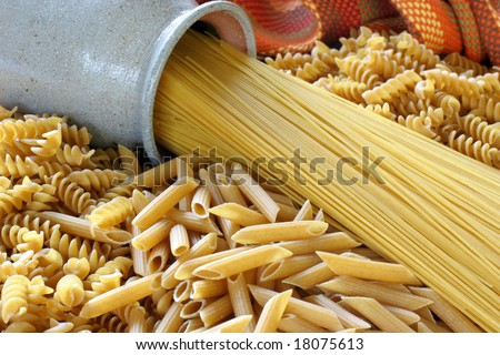 Assorted healthy whole grain pasta.