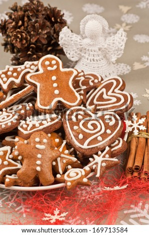 Assorted Homebaked Christmas Gingerbread Cookies - stock photo