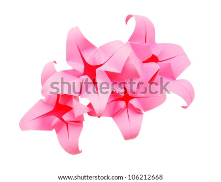 Assorted isolated origami flowers - stock photo