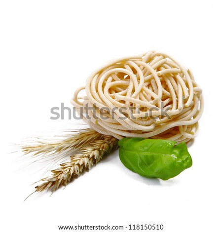 Assorted Italian Pasta with vegetables on white. - stock photo