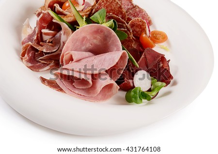 Assorted Italian sausages close-up as a background - stock photo