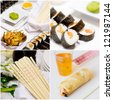 Assorted Japanese food collage, sushi on white tray, roll, chopstick - stock photo