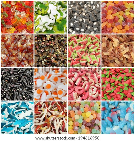 assorted jelly candies collage  - stock photo