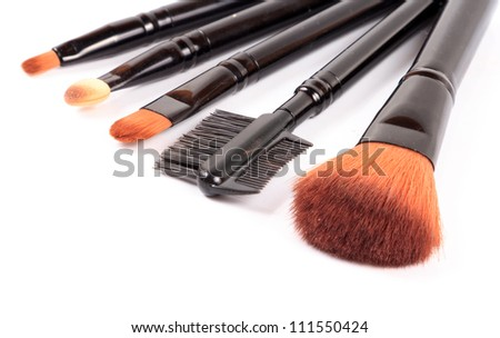 Assorted makeup blush isolated on white background