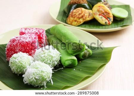 Assorted Malaysian Kuih pastry - stock photo