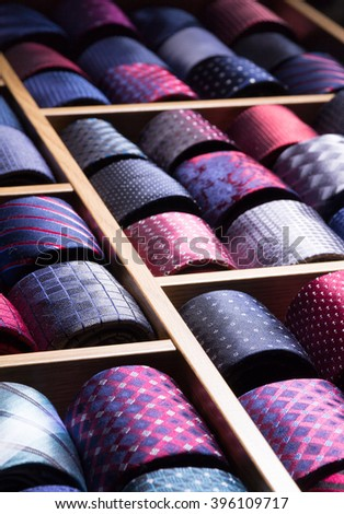 assorted man tie at store