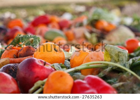 Assorted mildewing fruits and vegetables in a compost heap. - stock photo