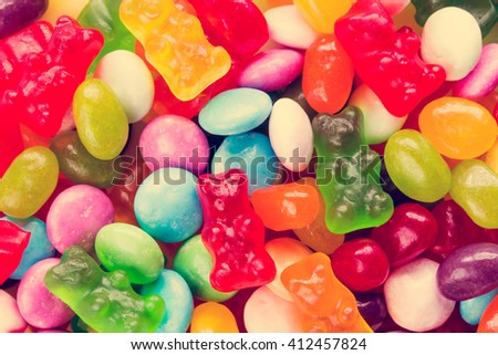 Assorted mix of various candies and jellies - stock photo