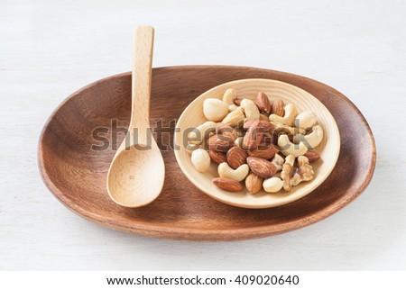 Assorted mixed nuts , Almond , Cashews nuts , macadamia , walnut - stock photo
