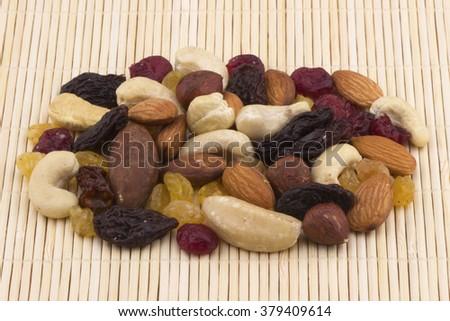 Assorted mixed nuts-almond, hazelnut, cashew, Brazil nut - stock photo