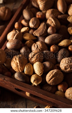 Assorted Mixed Organic Nuts with Walnuts Almonds and Pecans