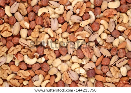Assorted nuts background - stock photo