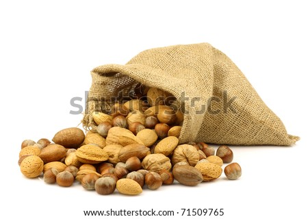 assorted nuts coming out of a burlap sack - stock photo