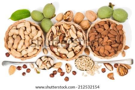 Assorted nuts in a wicker bowl isolated on a white. View from above.  - stock photo