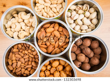 Assorted nuts in Iron pot (pecan, pistachios, almond, peanut, cashew,Pine nuts)