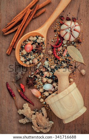 Assorted of spices  in wooden spoon  black pepper ,white pepper, black mustard,yellow mustard,fenugreek,cumin ,curry powder ,paprika and  fennel seeds on teak wood background. - stock photo