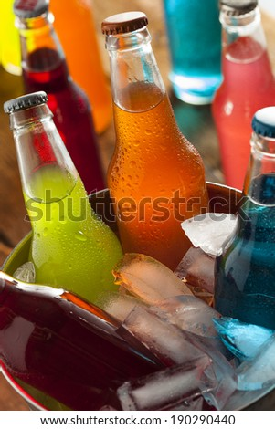 Assorted Organic Craft Sodas with Cane Sugar - stock photo