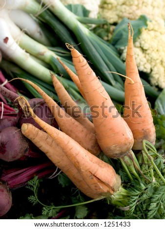 Assorted organically grown vegetables at the Austin Farmers Market, including carrots, scallions, leeks, cauliflower, and radishes.