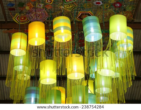 Assorted Oriental silk lamps