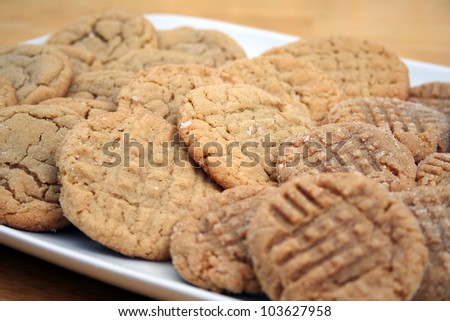 Assorted Peanut Butter and Sugar Cookies Background - stock photo
