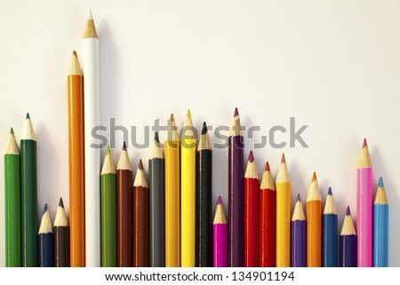 Assorted Pencils On White Background - stock photo