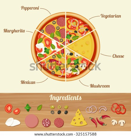 Assorted pizza cut into pieces and ingredients icons for pizza. - stock photo